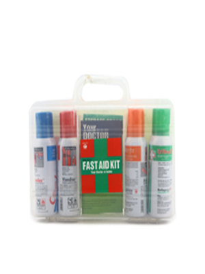 FAST AID KIT (RELISPRAY 75GM, MISTDRESS 75GM, VINODINE 75GM, COOLEX 75GM)