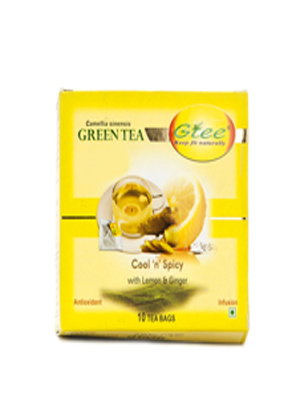 GTEE GREEN TEA BAGS WITH LEMON & GINGER 10 BAGS