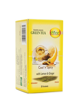 GTEE GREEN TEA BAGS WITH LEMON & GINGER 25 BAGS