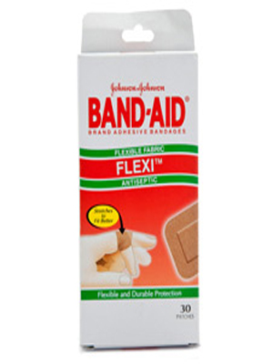 JOHNSON & JOHNSON FLEXI ANTISEPTIC BAND-AID PATCHES 30'S